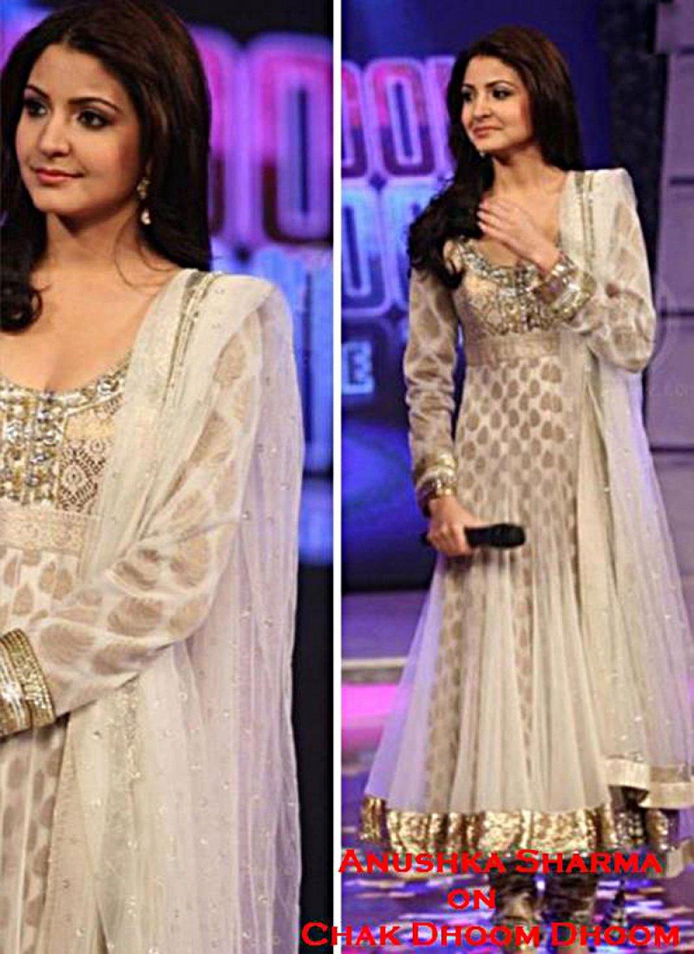Anushka Sharma White Bollywood Salwar Kameez