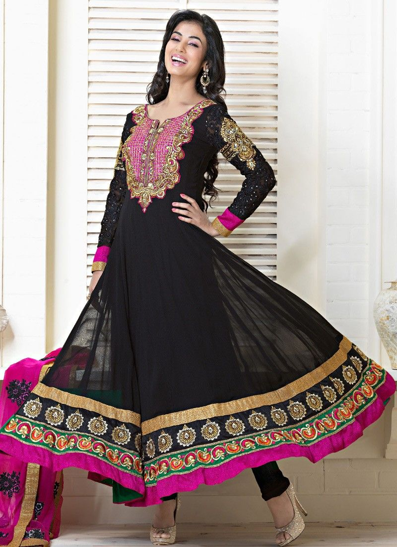 Black Resham Embroidered Salwar Kameez