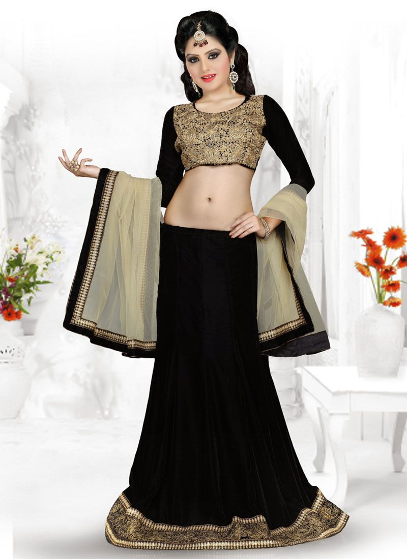 Black Zari Work Georgette Lehenga Choli