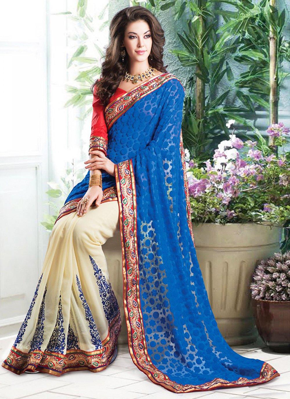 Appealing Blue And Cream Resham Work Net Saree