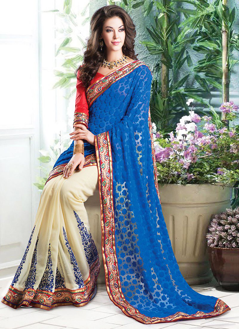 Appealing	 Blue And Cream Resham Work Net Saree