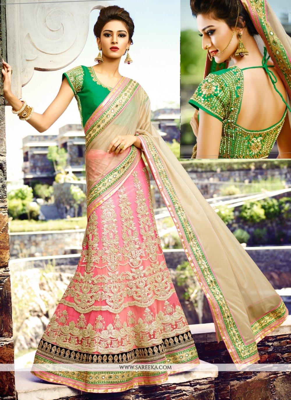 Cream and Hot Pink Net Lehenga Style Saree