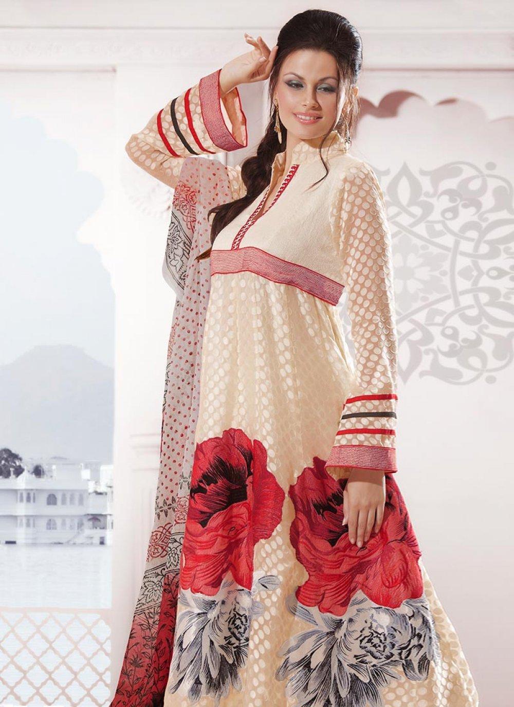 Cream Brasso Anarkali Suit