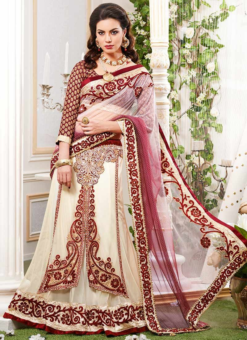Cream Net Lehenga Saree