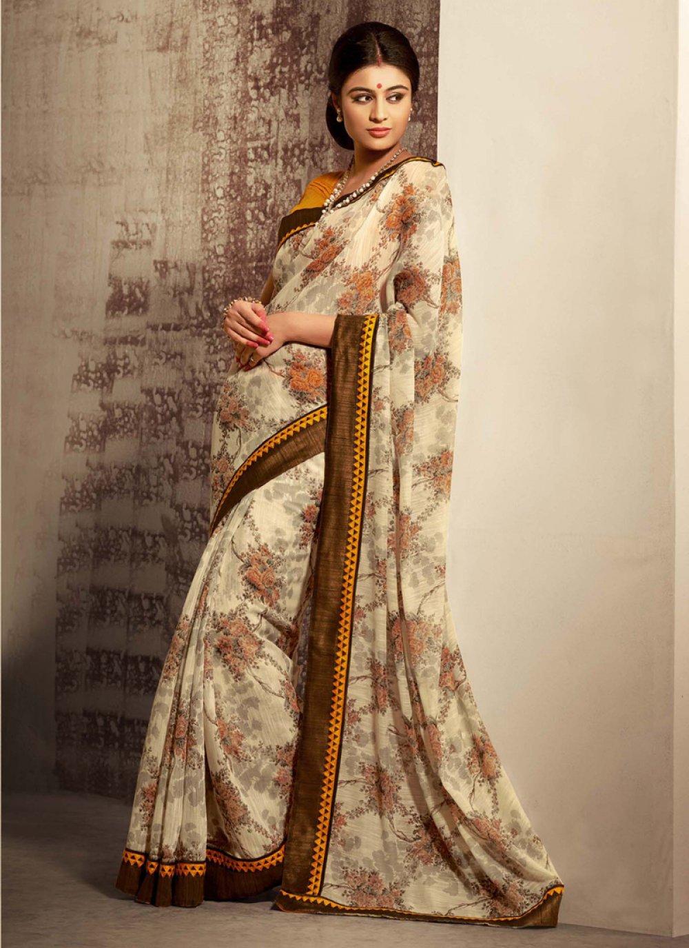 Cream Shaded Cotton Silk Saree