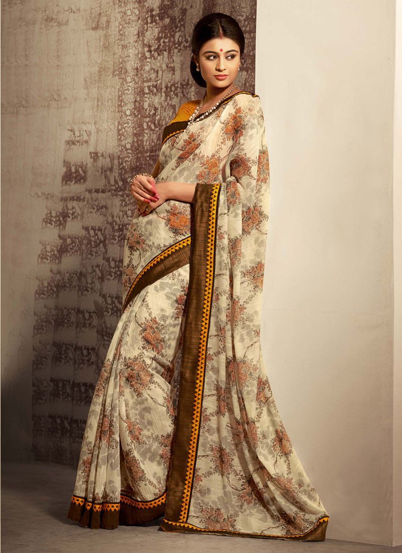 Cream Shaded Cotton Silk Saree