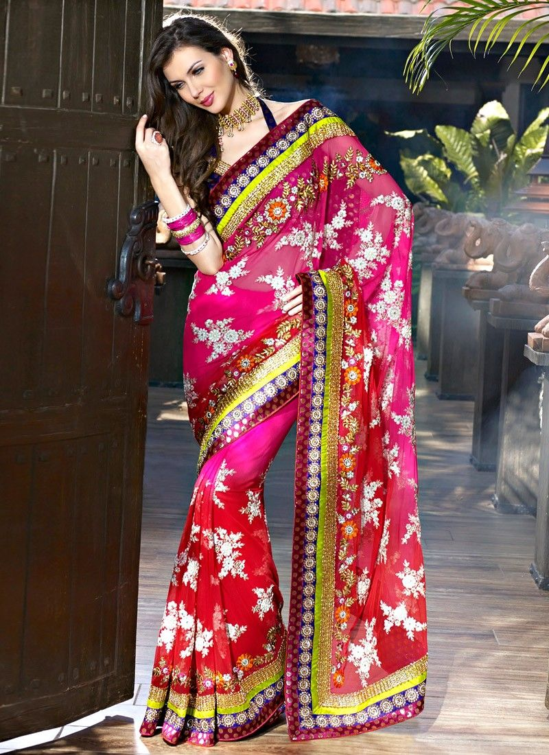 Deep Pink Embroidered Saree