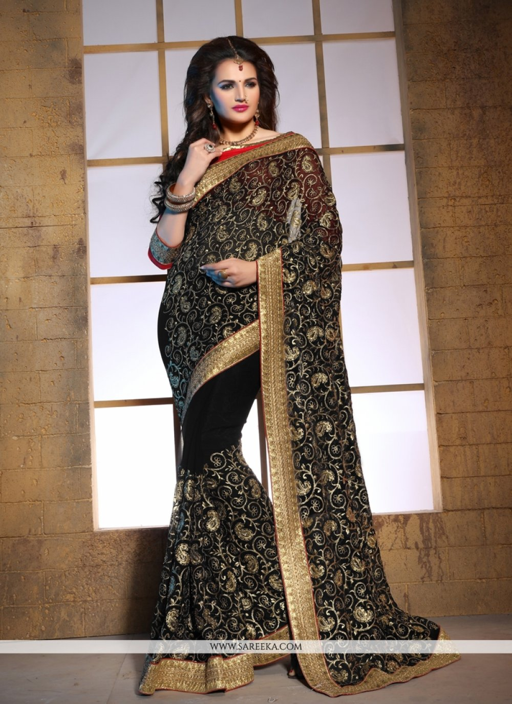 Lace Work Bamber Georgette  Designer Saree