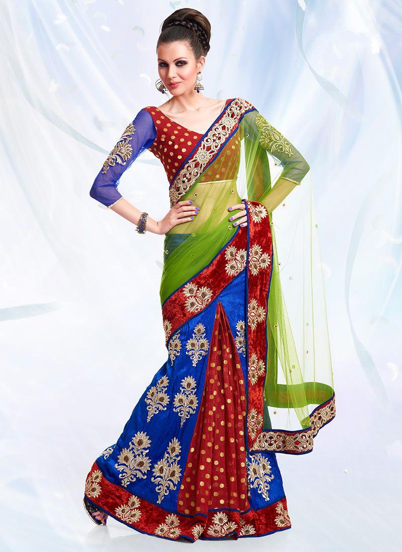 Multicolor Ready Pleated Saree