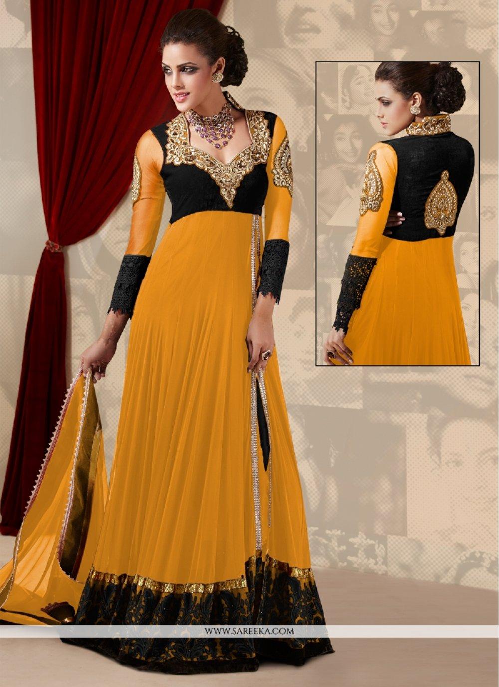 Mustard Net Georgette Floor Length Anarkali Suit