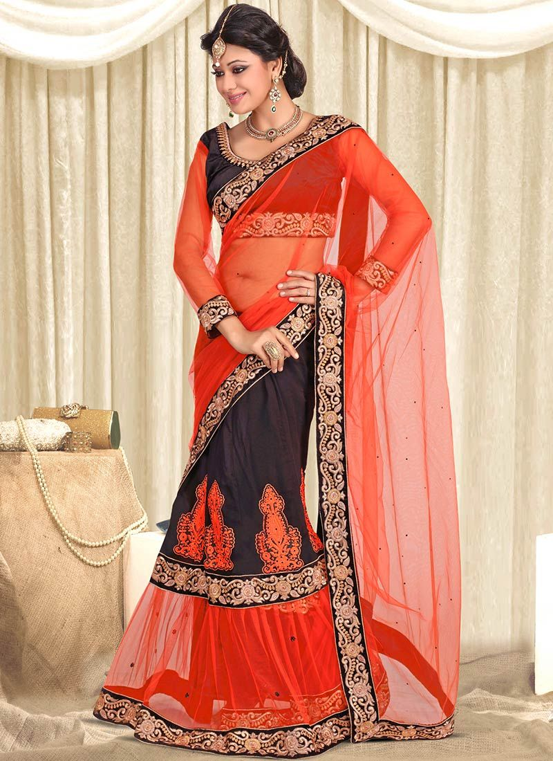 Orange Georgette Net Lehenga Saree