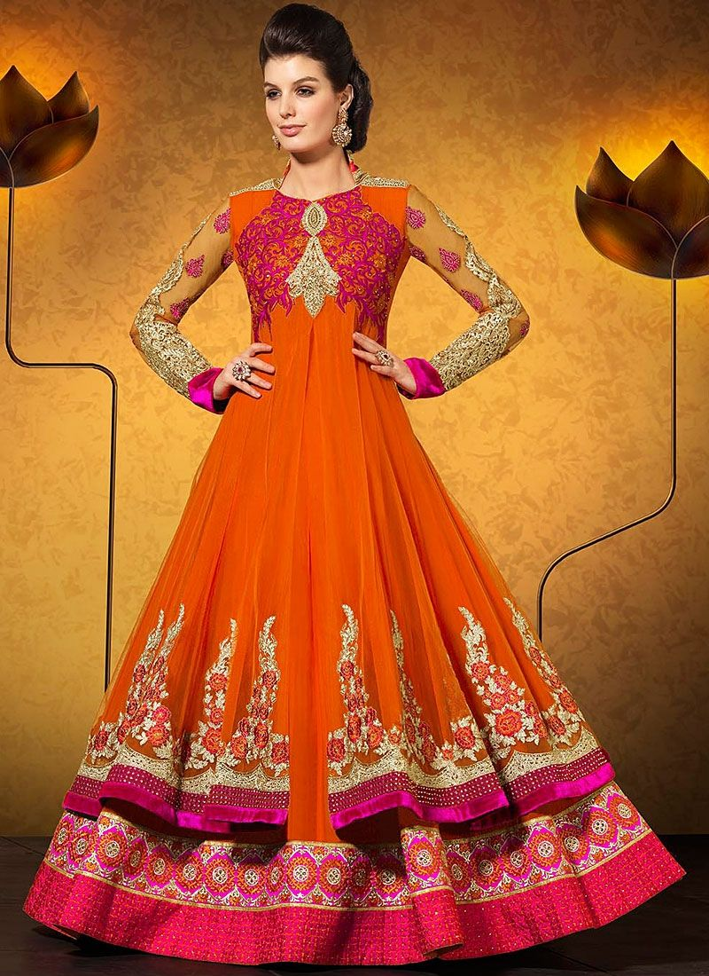 Orange Stone Work Georgette Anarkali Suit