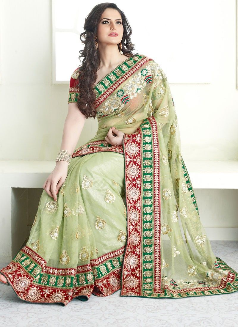 Pastel Green Net Saree