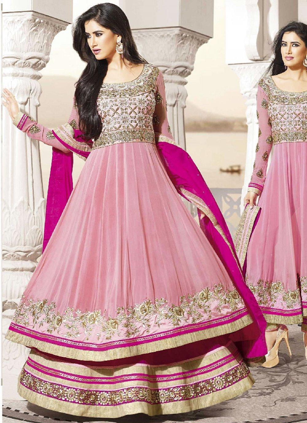 Pink Embroidered Length Anarkali Suit