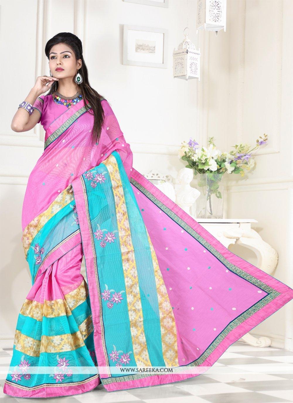 Pink Lace Work Super Net Designer Saree