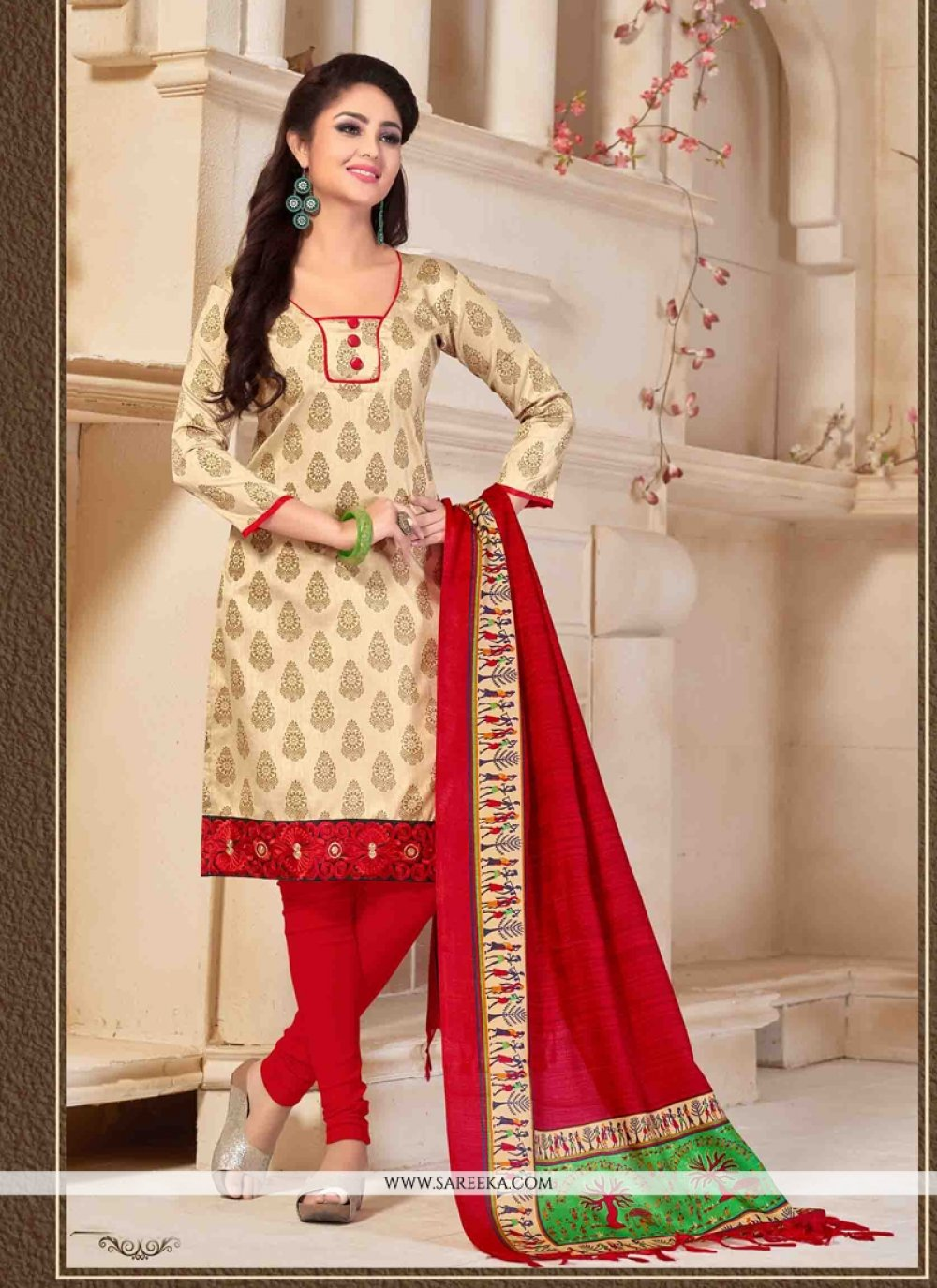 Print Work Cream Banglori Silk Churidar Designer Suit