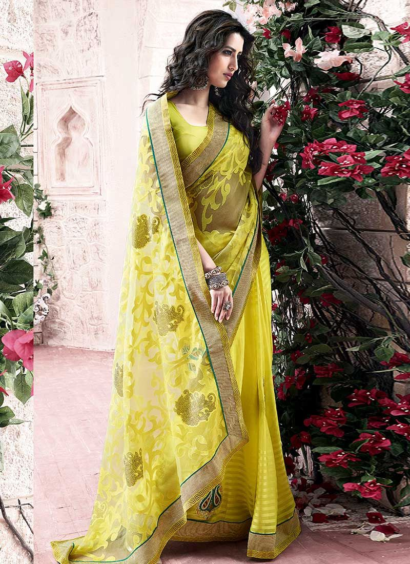 Yellow Embroidery Work Net Saree