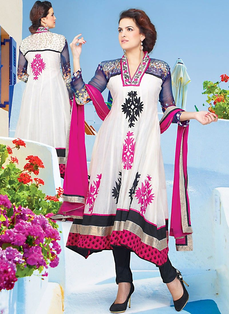 Applique Off White Net Churidar Suit