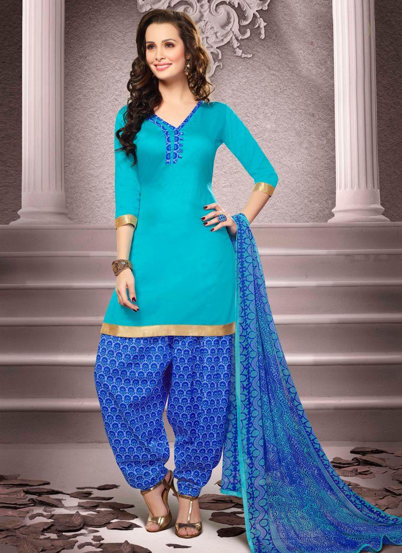 Aqua Blue Cotton Printed Punjabi Suit -