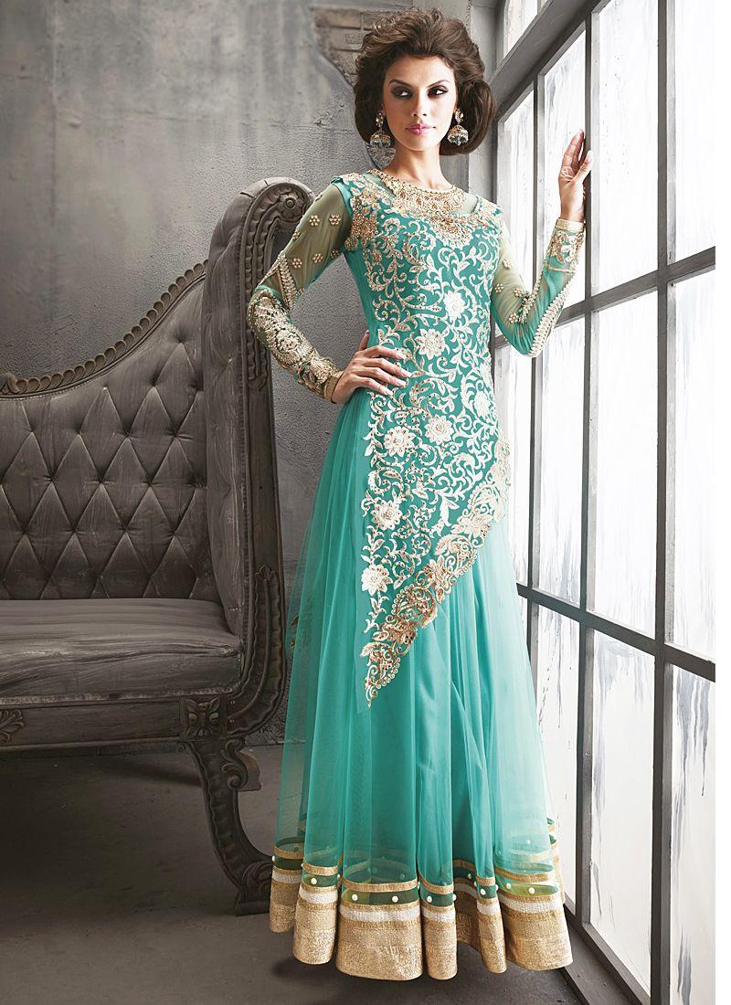 Aqua Blue Embroidery Work Anarkali Suit -