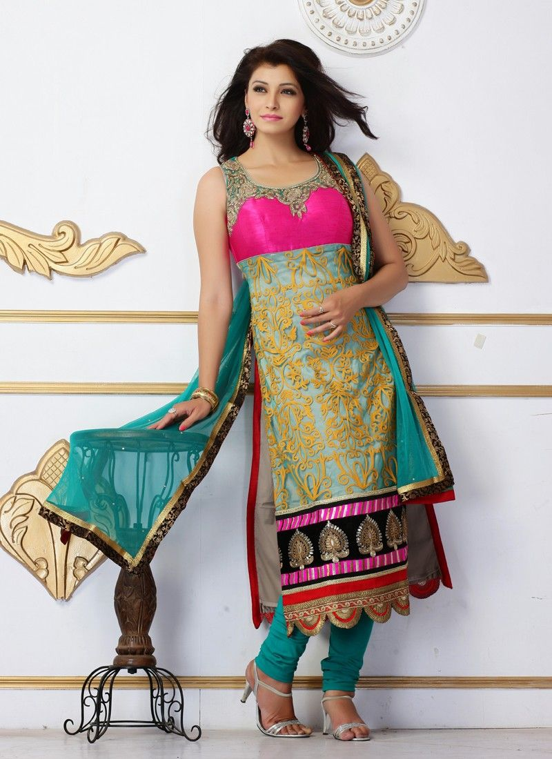 Aqua Blue Resham Work Net Silk Churidar Suit