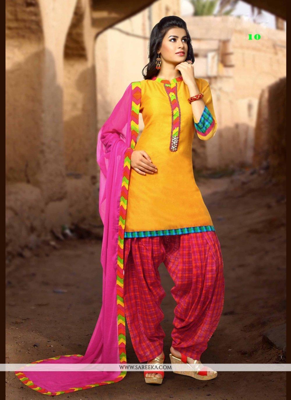 Art Silk Yellow Trendy Punjabi Churidar Suit
