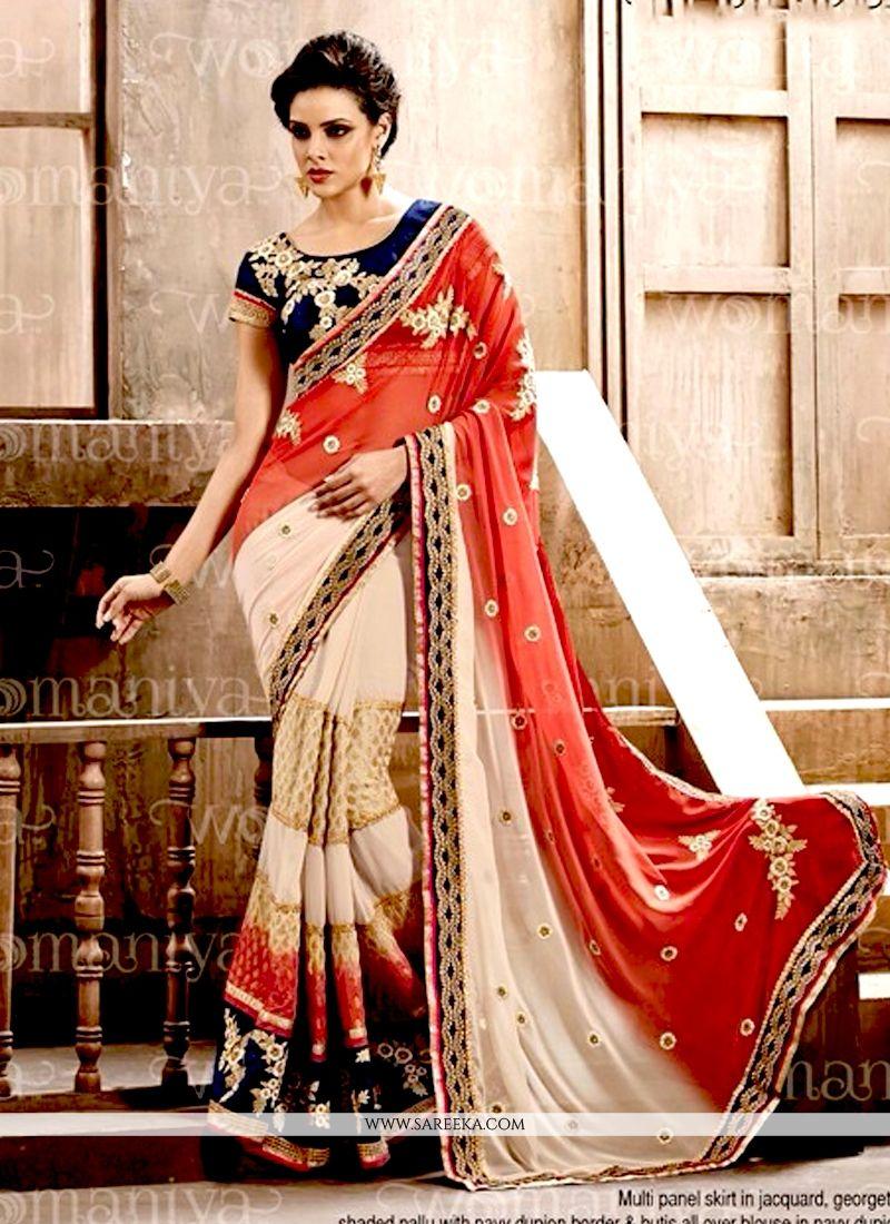 Cream and Red Designer Saree