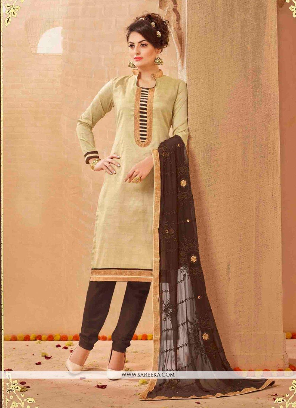 Cream Lace Work Churidar Salwar Suit
