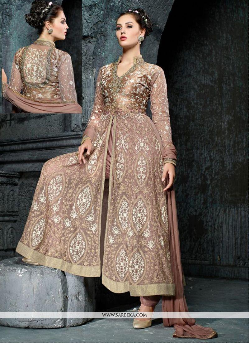 Embroidered Work Net Anarkali Salwar Suit