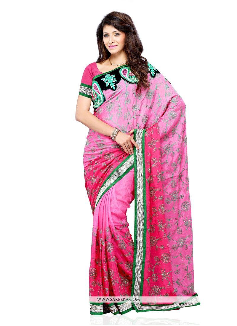 Pink Embroidered Work Art Silk Designer Saree