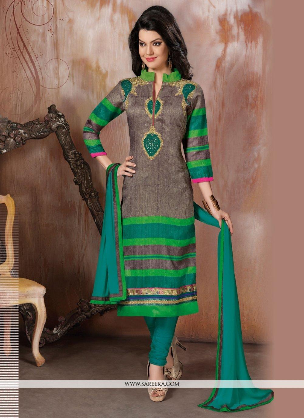 Raw Silk Green Churidar Designer Suit