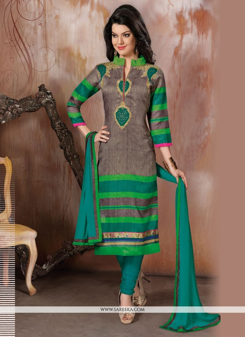 Raw Silk Green Churidar Designer Suit