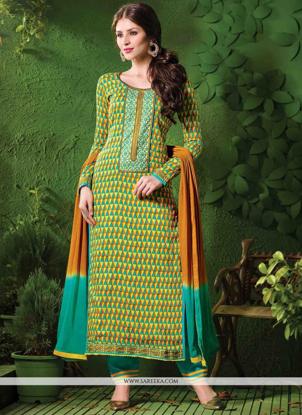Cotton   Green and Yellow Designer Salwar Kameez