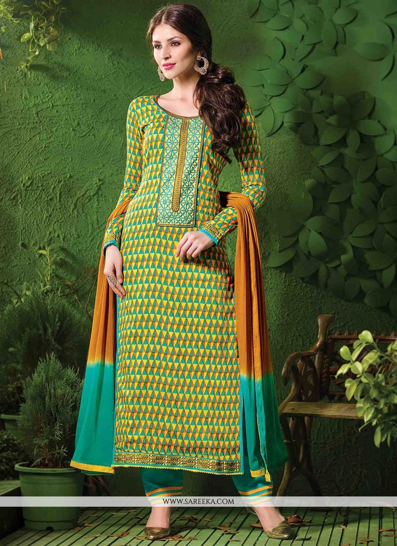 Cotton   Green and Yellow Designer Salwar Kameez