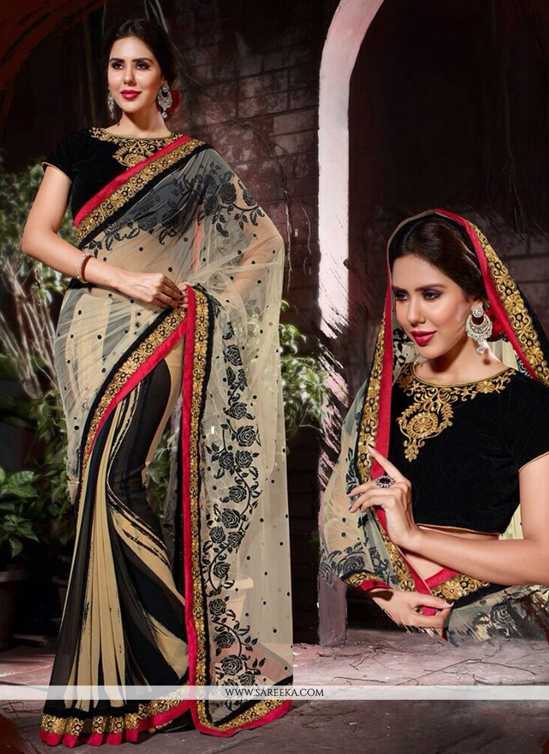 Cream and Black Patch Border Work Designer Saree