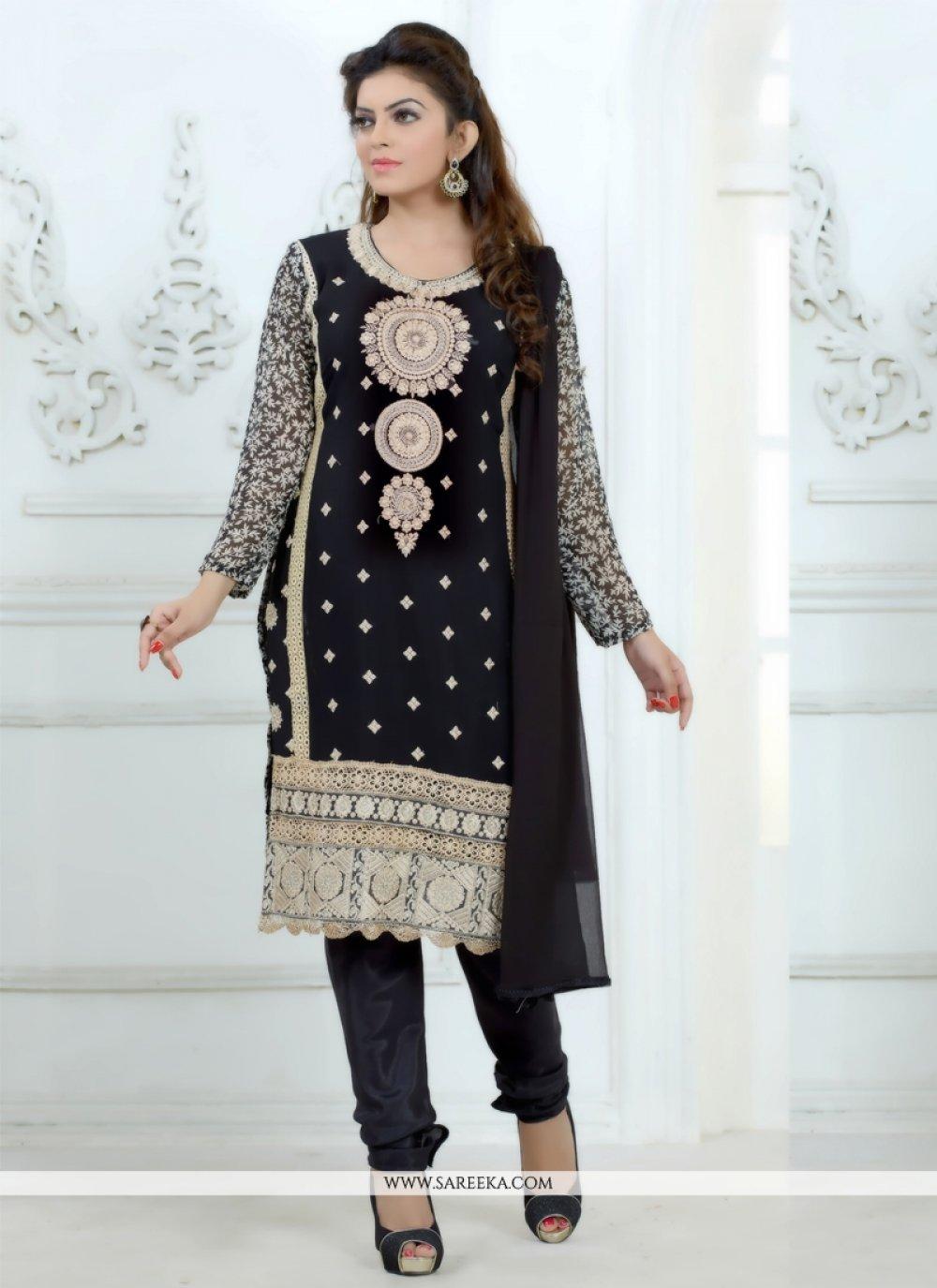 Embroidered Work Georgette Churidar Salwar Kameez