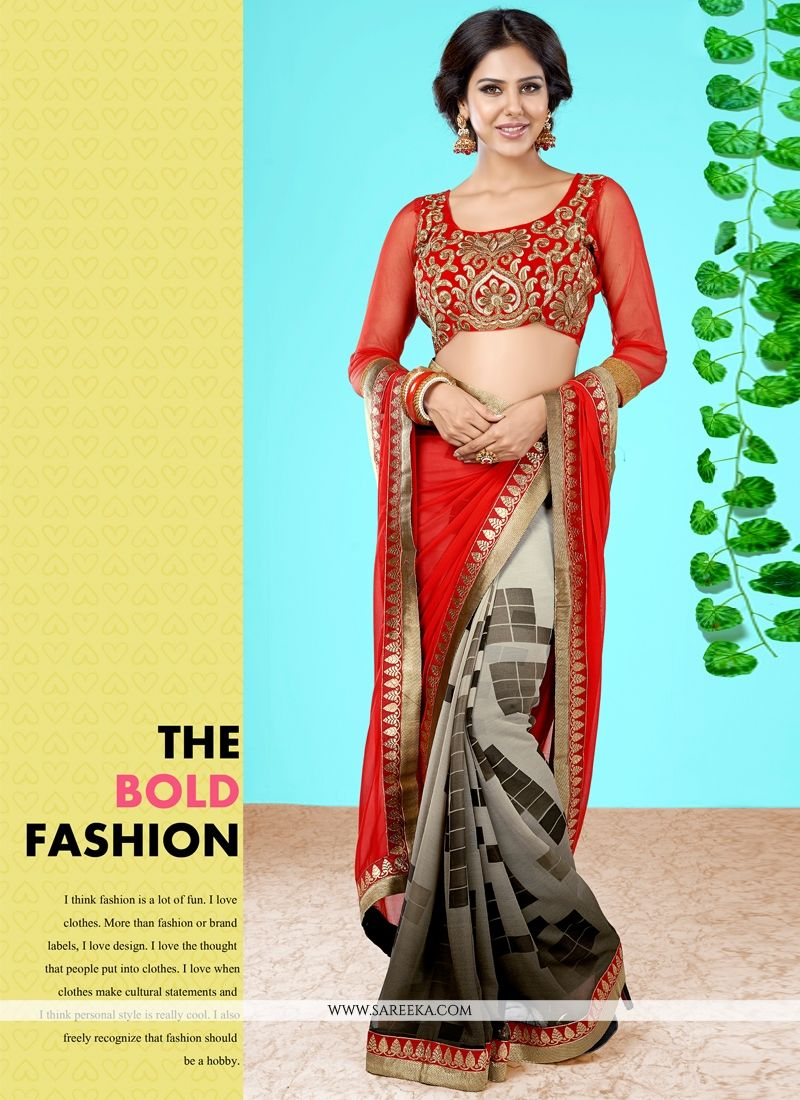 Georgette Red Designer Half N Half saree