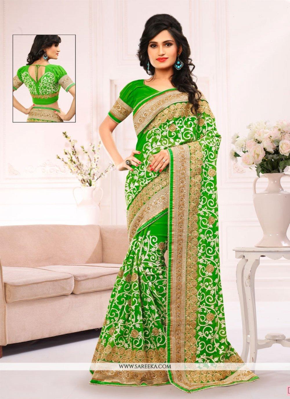 Green Patch Border Work Designer Saree