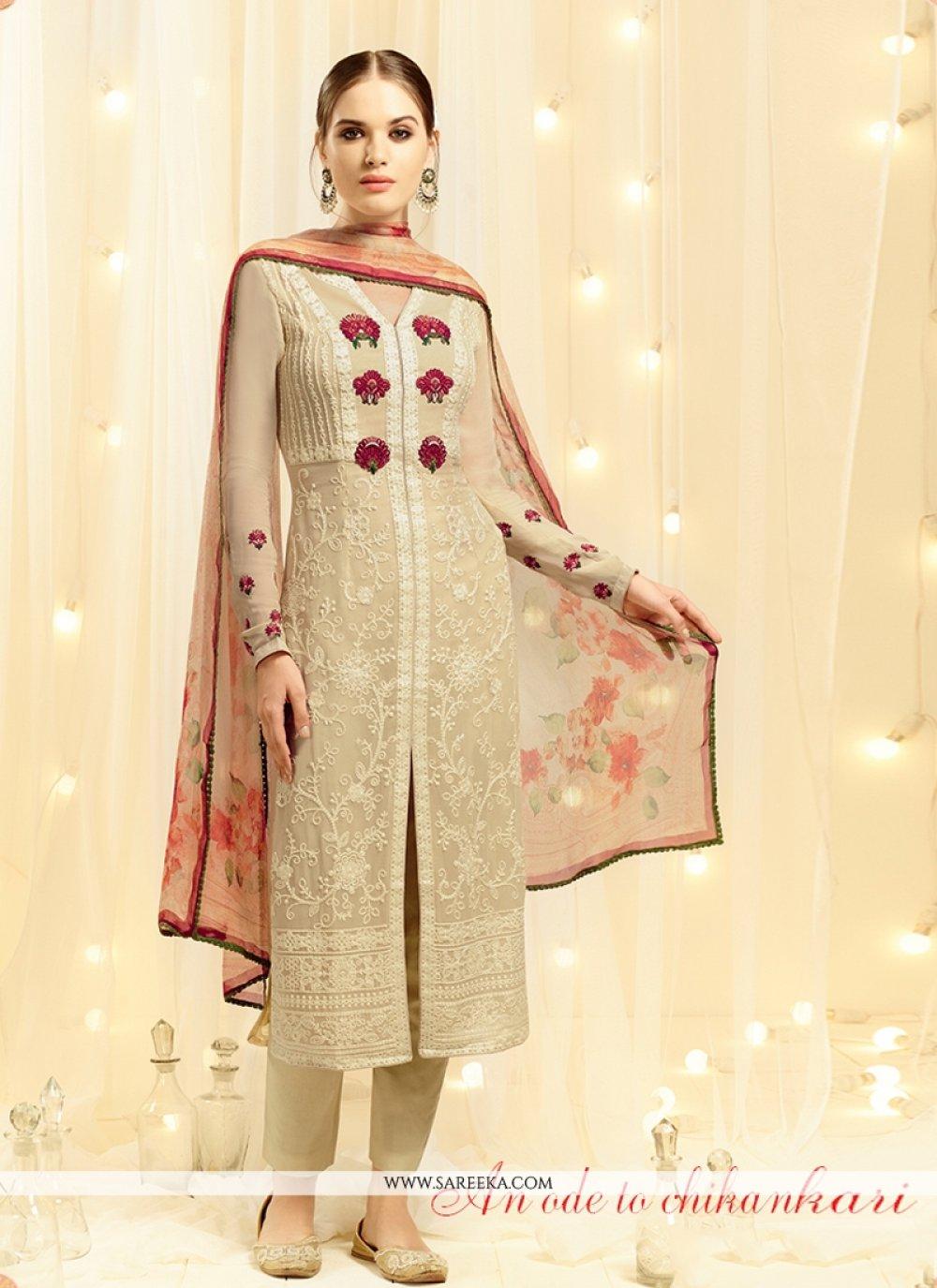 Resham Work Georgette Beige Designer Straight Salwar Kameez