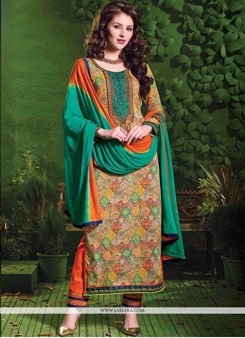 Resham Work Multi Colour Cotton   Salwar Suit