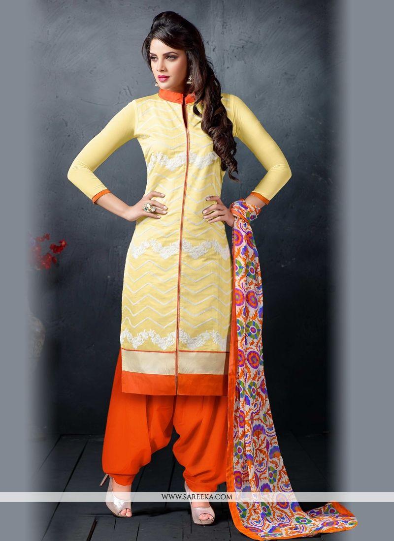 Chanderi Cotton Patiala Suit