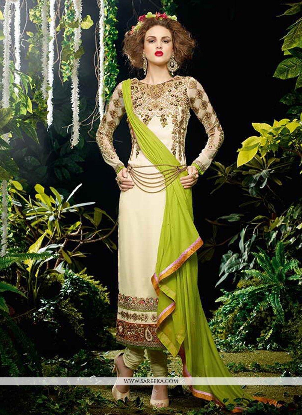 Georgette Cream Designer Straight Salwar Kameez