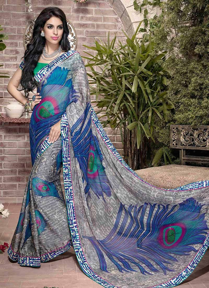 Grey Printed Art Silk Saree