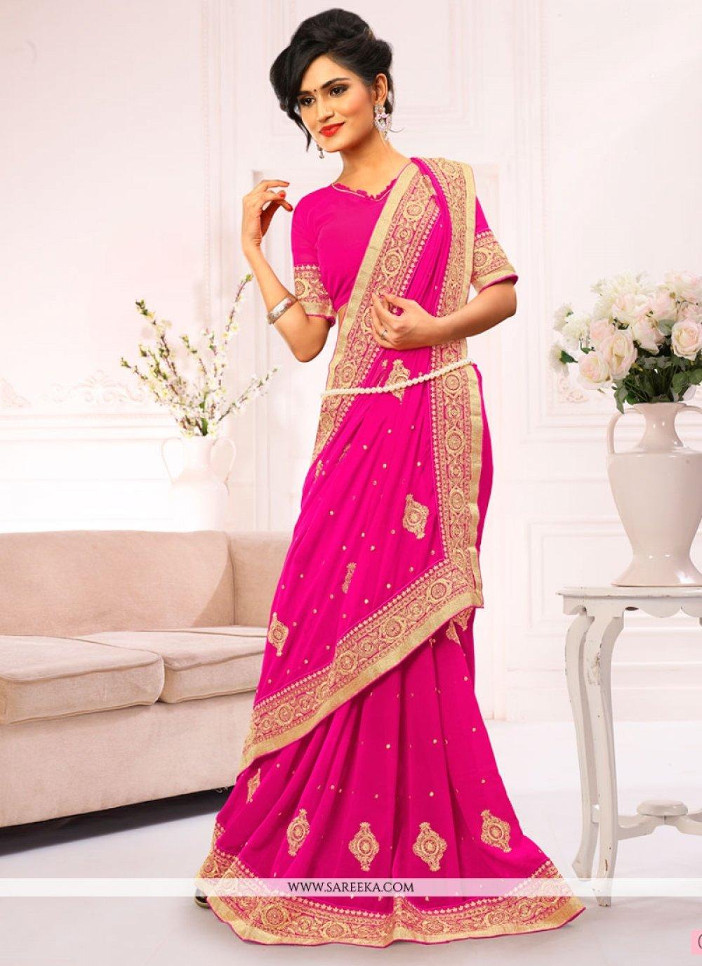 Hot Pink Embroidered Work Designer Saree