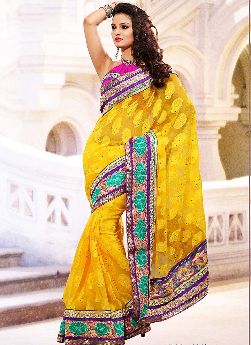 Yellow Kota Jacquard Saree