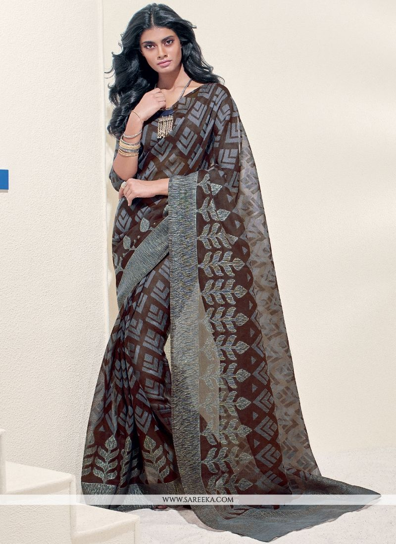 Brasso Georgette Brown Print Work Casual Saree