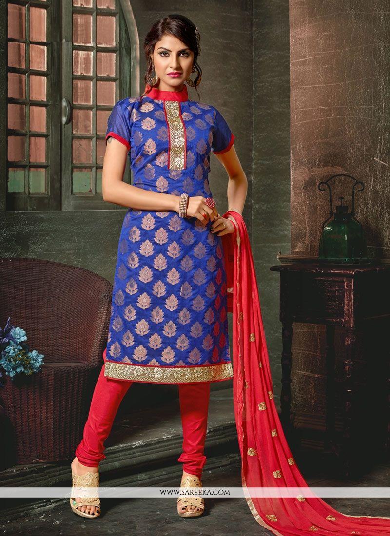 Chanderi Blue Churidar Designer Suit