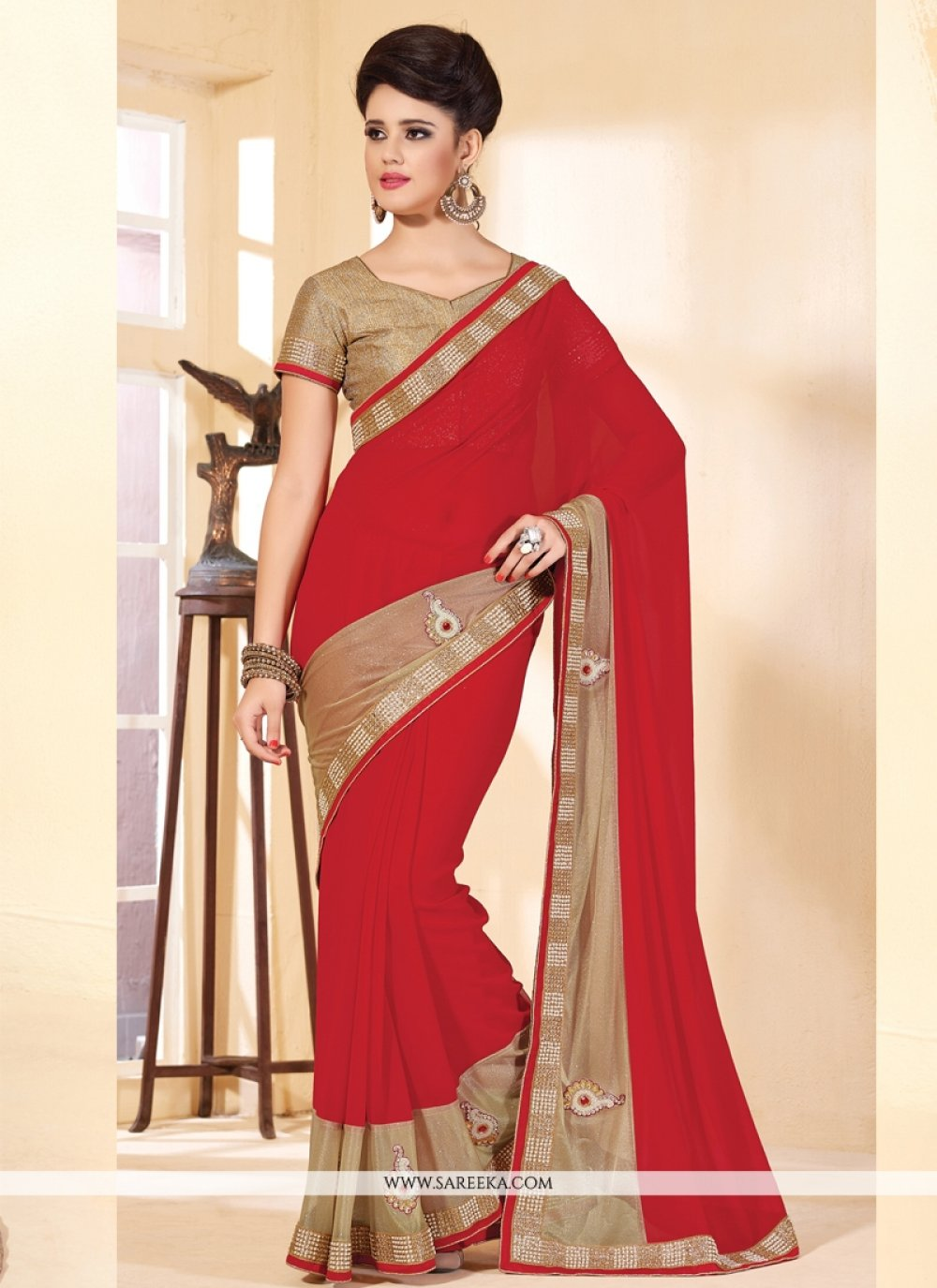 Faux Chiffon Embroidered Work Contemporary Style Saree