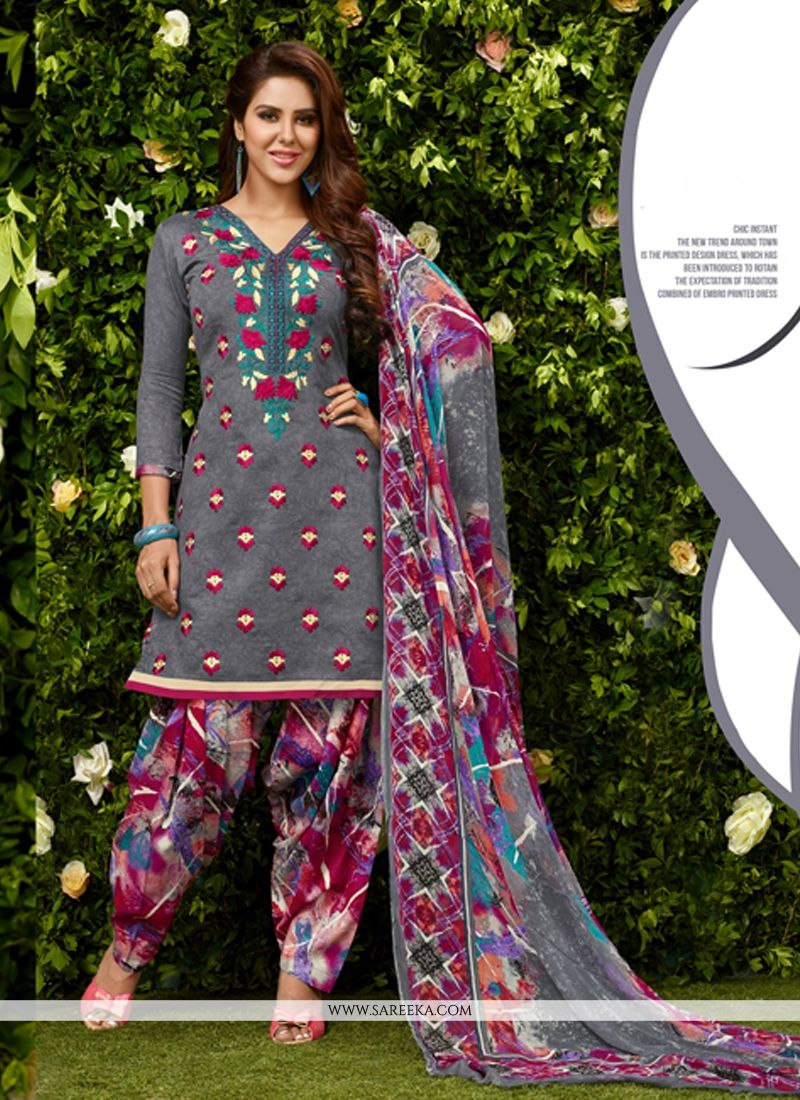 Glessh Grey Embroidered Work Designer Patila Salwar Suit