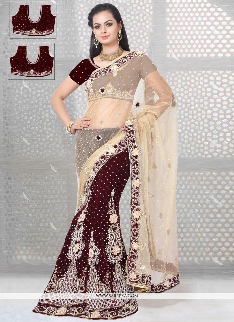 Maroon Embroidered Work Velvet Designer Lehenga Saree
